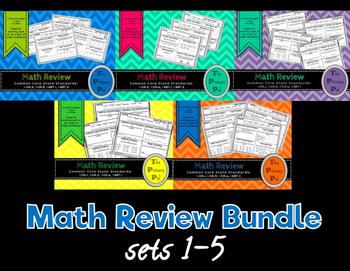 1st Grade Common Core Math Review: Sets 1-5 Bundle