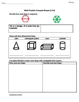 1st Grade Common Core Math Worksheets 1.G.2 Composing Shap