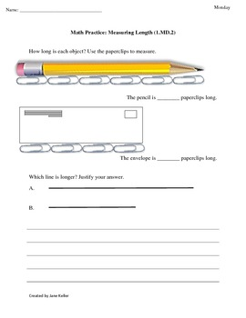 1st Grade Common Core Math Worksheets 1.MD.2 Measuring Length