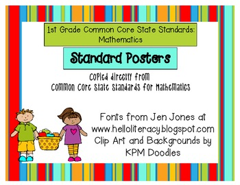 1st Grade Common Core Posters for Mathematics