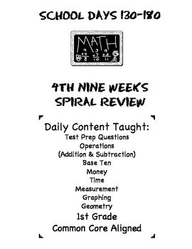 1st Grade Common Core Spiral Math Review-4th Nine Weeks