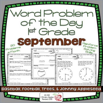Word Problems 1st Grade, September