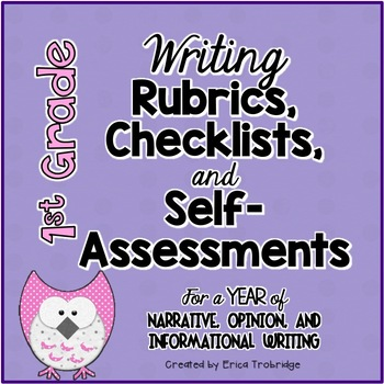 1st Grade Common Core Writing Rubrics & Checklists for the