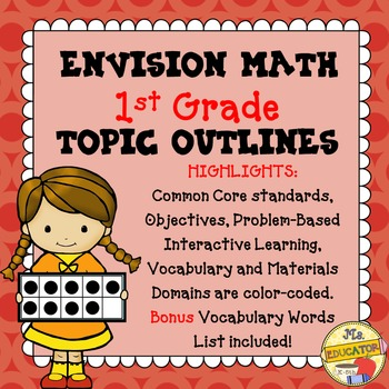EnVision Math Common Core - 1st Grade Topics 1-16 Outlines