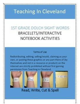1st Grade Dolch Sight Words Bracelets/Interactive Notebook