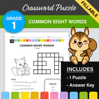 1st Grade - Dolch Sight Words Crossword Puzzle (Set 1)