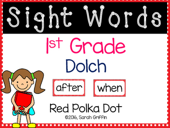 1st Grade Dolch Sight Words ~ Red Polka Dot