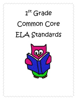1st Grade ELA CCSS I Can Statements- Owl Theme