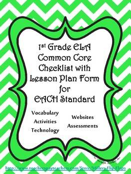 1st Grade ELA Common Core Checklist - Lesson Planning Form