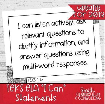 "First Grade ELA TEKS ""I Can"" Statements"