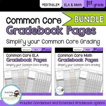 1st Grade ELA and Math Common Core **EDITABLE** Gradebook