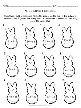 """1st Grade Easter """"Peeps"""" Addition & Subtraction- Common Co"""