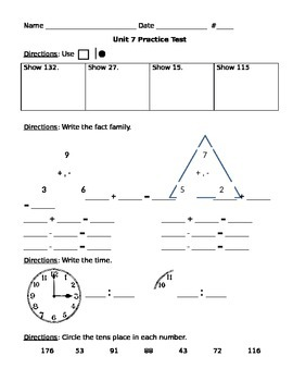 1st Grade, Everyday Math, Unit 7 Practice Test