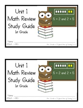 1st Grade Expressions Math: Unit 1 Review Study Guide- Ear
