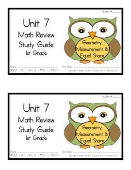 1st Grade Expressions Math: Unit 7 Review Study Guide