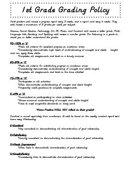 1st Grade Grading Policy