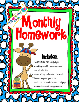 1st Grade Monthly Homework