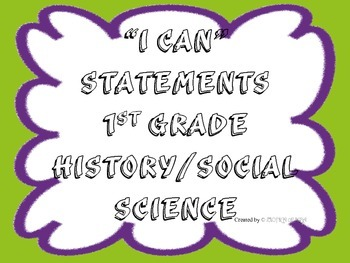 1st Grade I CAN Statement History/Social Science Green&Pur
