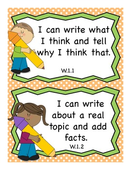 1st Grade Writing I Can Statements