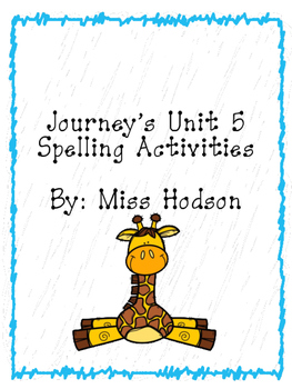 1st Grade Journey's Unit 5 word work