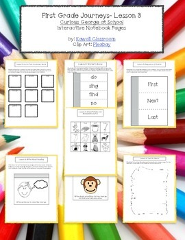1st Grade Journeys Lesson 3 Interactive Notebook Pages