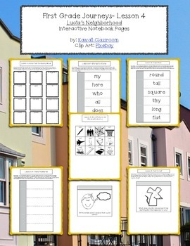 1st Grade Journeys Lesson 4 Interactive Notebook Pages