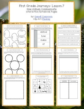 1st Grade Journeys Lesson 7 Interactive Notebook Pages