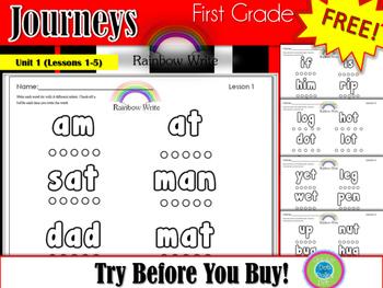 1st Grade Journeys- Rainbow Write - Unit 1- FREE!