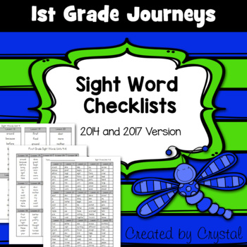 1st Grade Journeys Sight Word Checklists