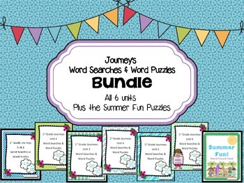 1st Grade Journeys Word Searches & Puzzles – All 6 Units