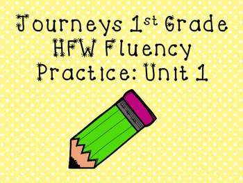 1st Grade Journeys Word Wall Word Fluency Unit 1