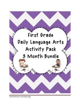 1st Grade Language Arts Worksheet Bundle (Sept - Nov) {Com