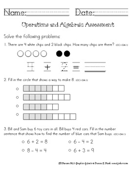 1st Grade Math Assessments on Common Core