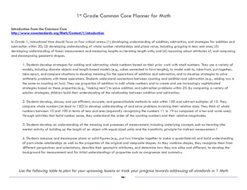 1st Grade Math Common Core Planner (Basic)