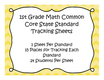1st Grade Math Common Core Standard Track Sheets
