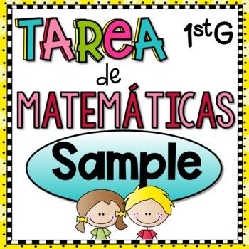 Tarea de Matemáticas de Primer Grado - Free Sample