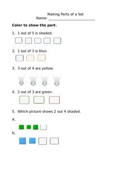 1st Grade Math Making Parts of a Set