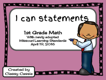 1st Grade Math Missouri Learning Standards I can Statement