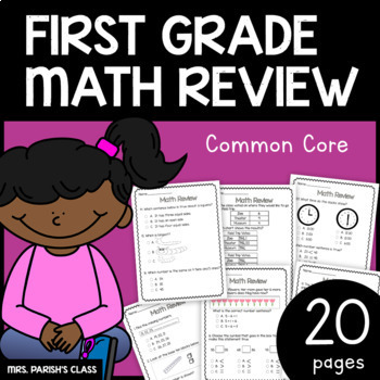 20 Pages! 1st Grade Math Review/Assessment! (CC aligned) G