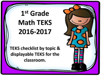 1st Grade Math TEKS Checklist and Displayable Cards