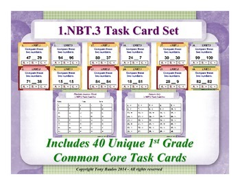 1st Grade Math Task Cards 1 NBT.3 Compare Two Two-Digit Nu