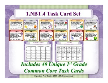 1st Grade Math Task Cards 1 NBT.4 Add Within 100 Word Prob