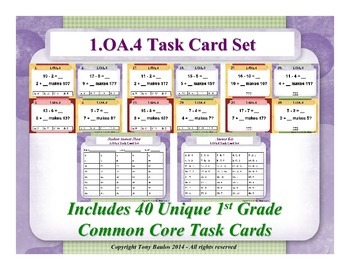 1st Grade Math Task Cards Subtraction As An Unknown-Addend