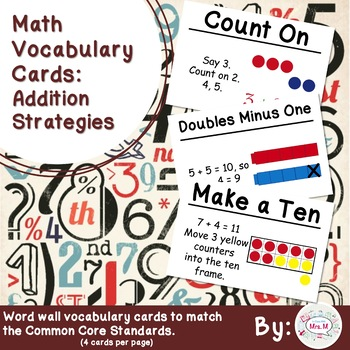 1st Grade Math Vocabulary Cards: Addition Strategies