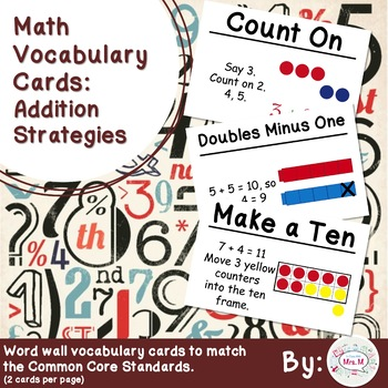 1st Grade Math Vocabulary Cards: Addition Strategies (Large)