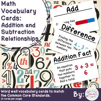 1st Grade Math Vocabulary Cards: Addition and Subtraction