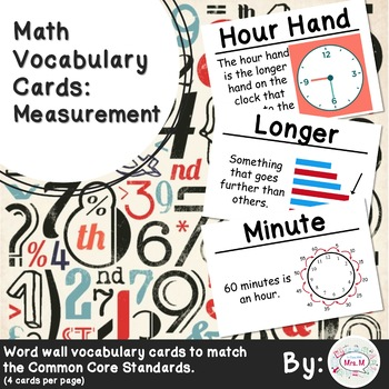 1st Grade Math Vocabulary Cards: Measurement
