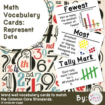 1st Grade Math Vocabulary Cards: Represent Data