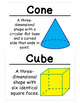 1st Grade Math Vocabulary Cards: Three-Dimensional Geometr