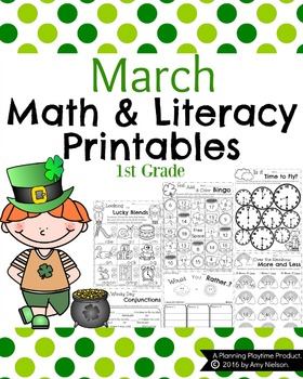 1st Grade Math and Literacy Printables - March